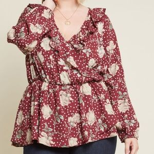 Modcloth Floral Ruffle Top